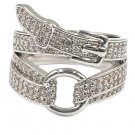 Fashion buckle crystal silver ring