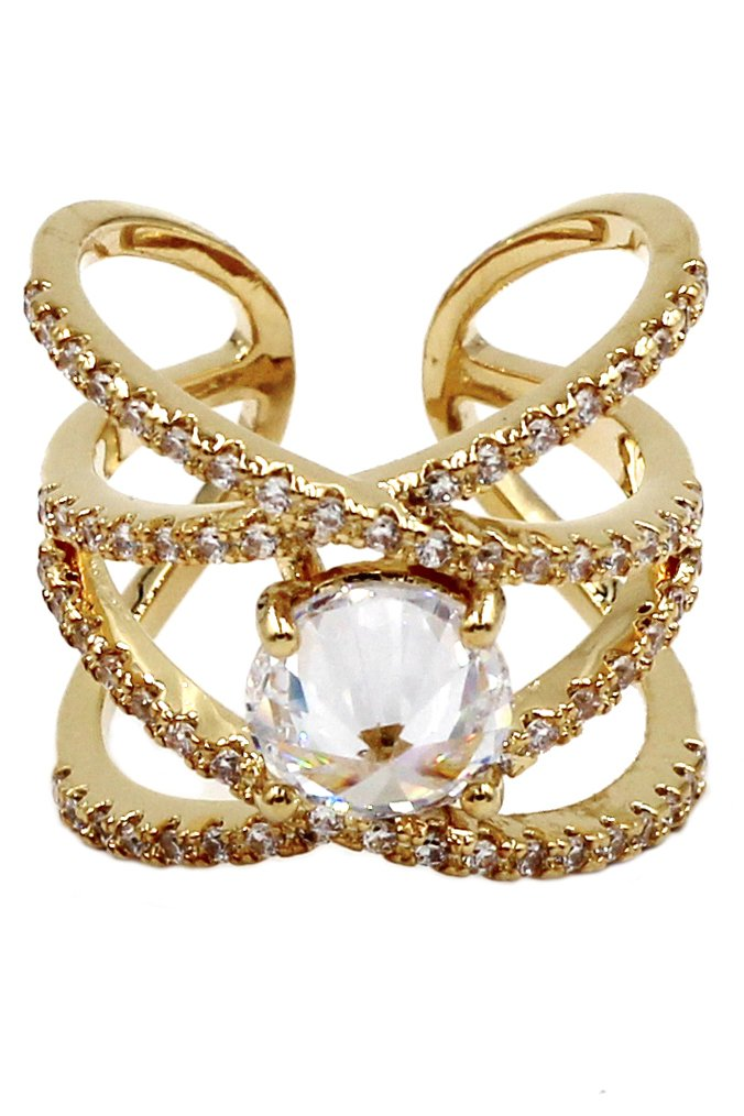 Fashion crystal opening gold ring