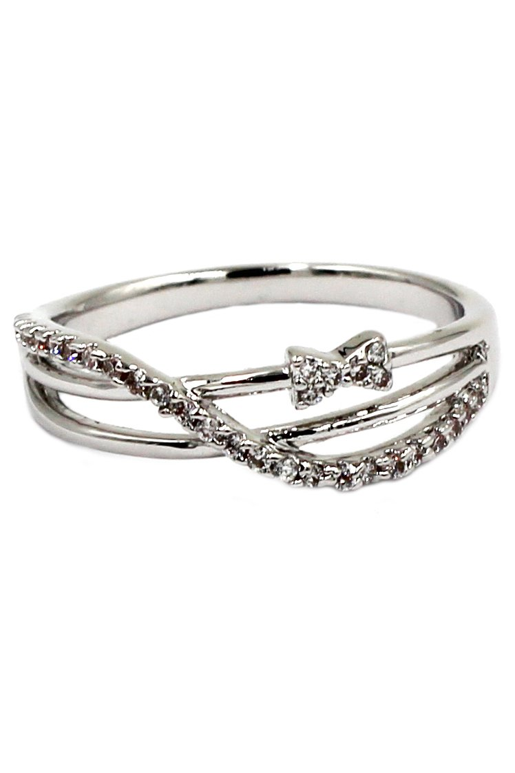 Lovely mini bow crystal silver ring