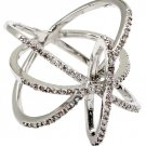 Fashion tracks small crystal silver ring