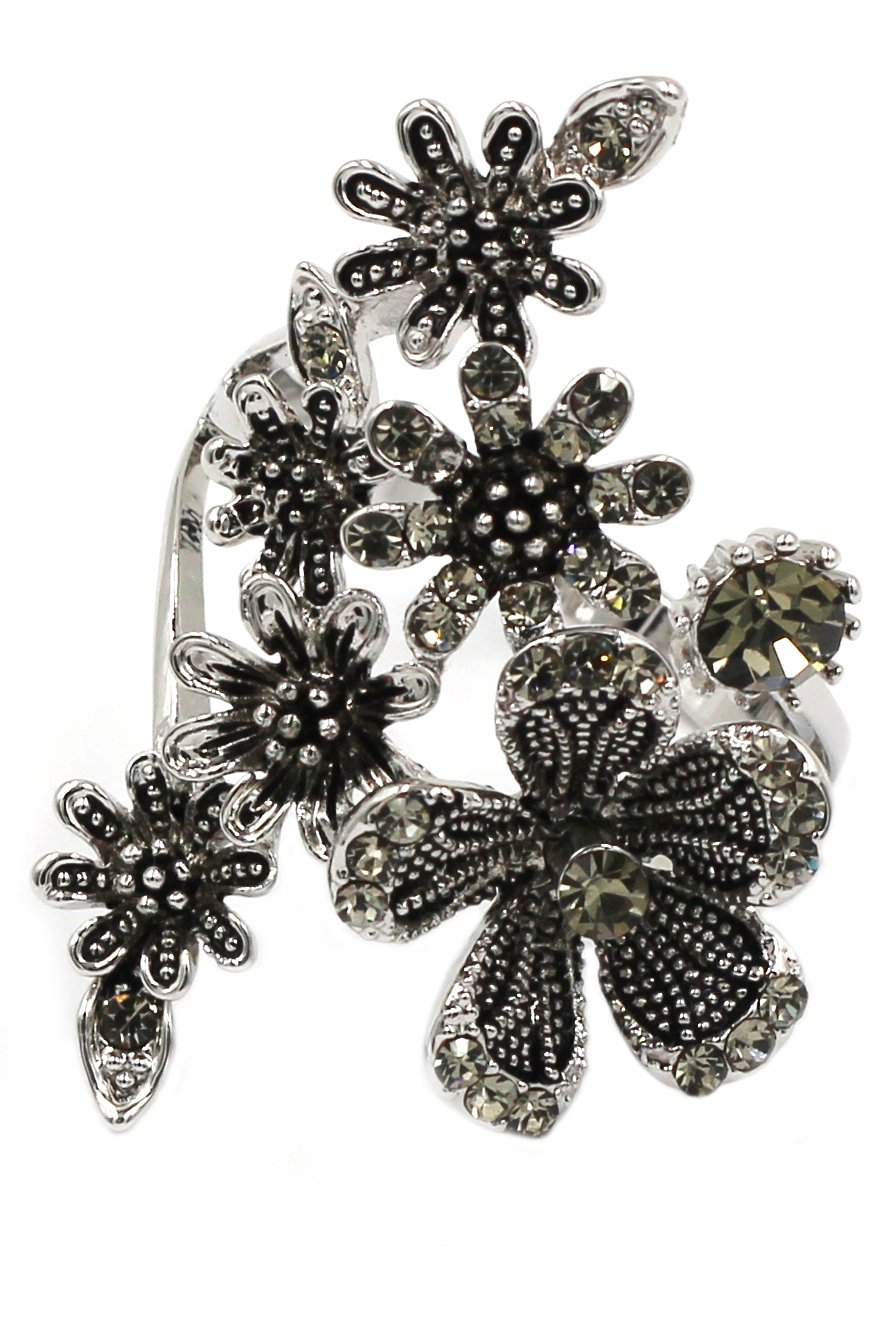 Elegant flower crystal silver ring