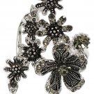 Elegant flower crystal silver ring