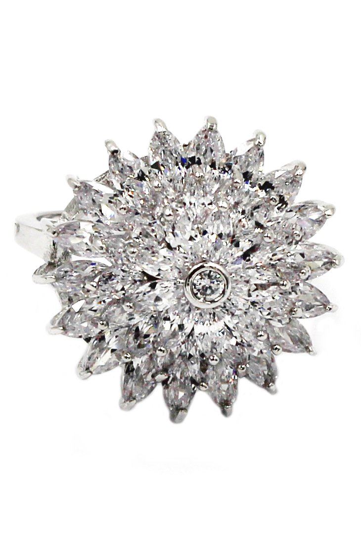 Shining bright sunflower crystal silver ring