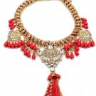 Colorful tassel national crystal and red beads necklace