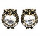 Mini cute owl crystal gold earrings