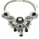 Elengant crystal black flower silver necklace