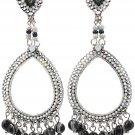 Classic pendant white beads earrings