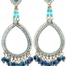 Classic pendant blue beads earrings