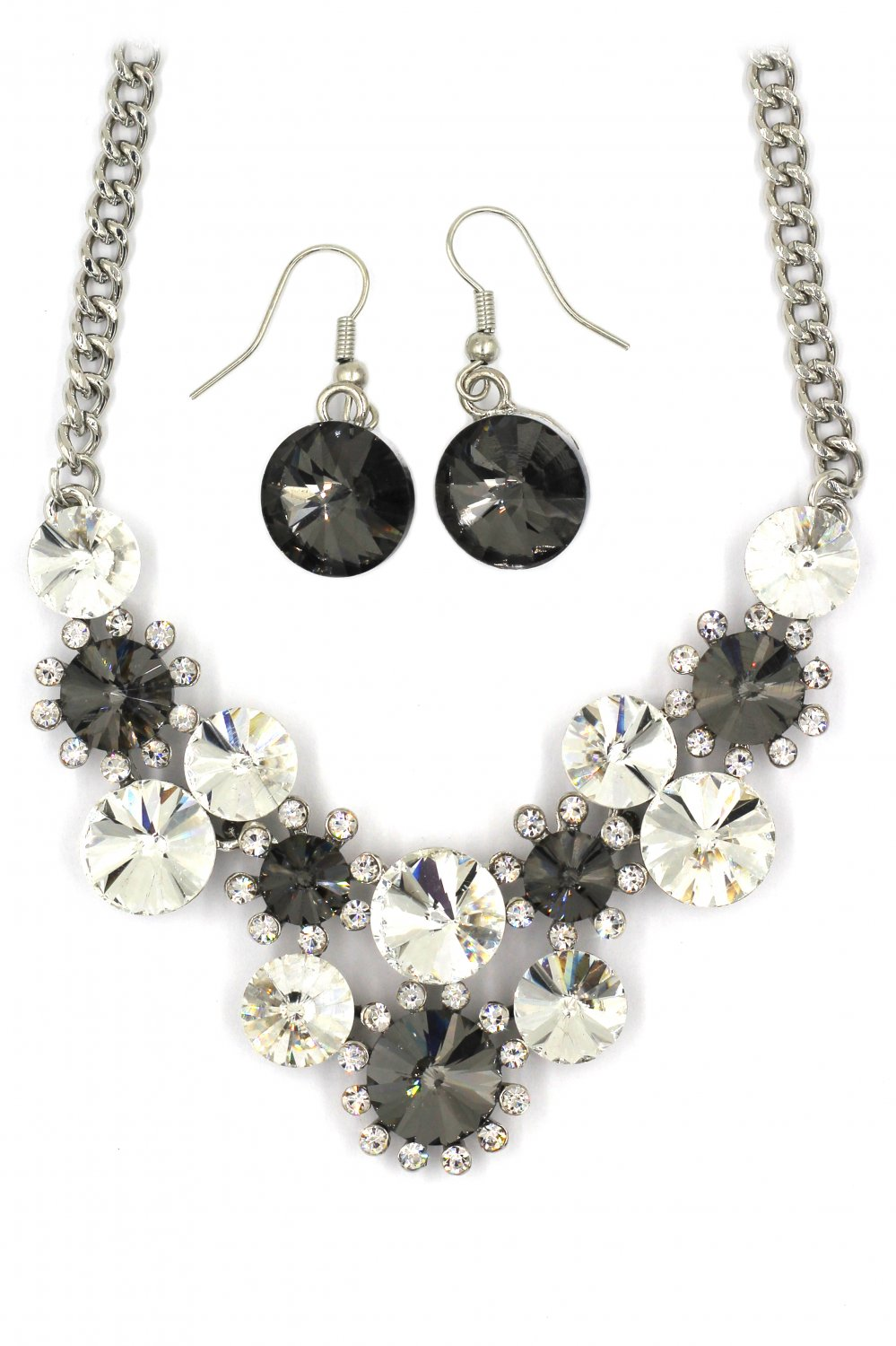 Fashion circle gray crystal necklace earrings sets