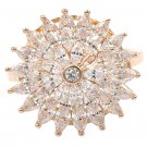 Shining bright sunflower crystal rose gold ring