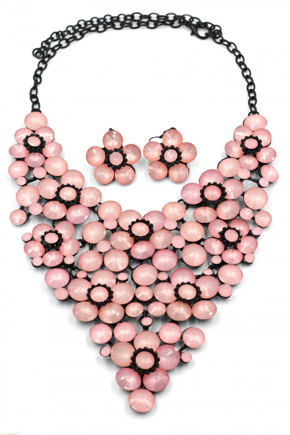 Crystal pink flowers necklace sets