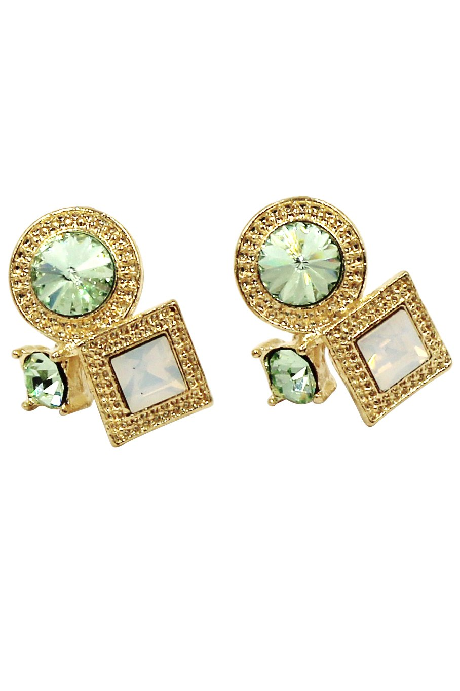 Fashion golden rim crystal green earrings