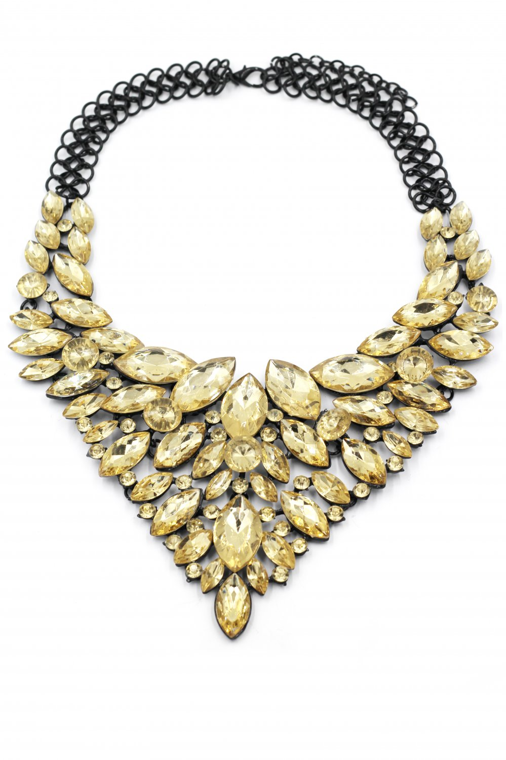 Fashion colorful crystal yellow necklace