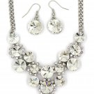 Fashion circle crystal necklace earrings silver white sets