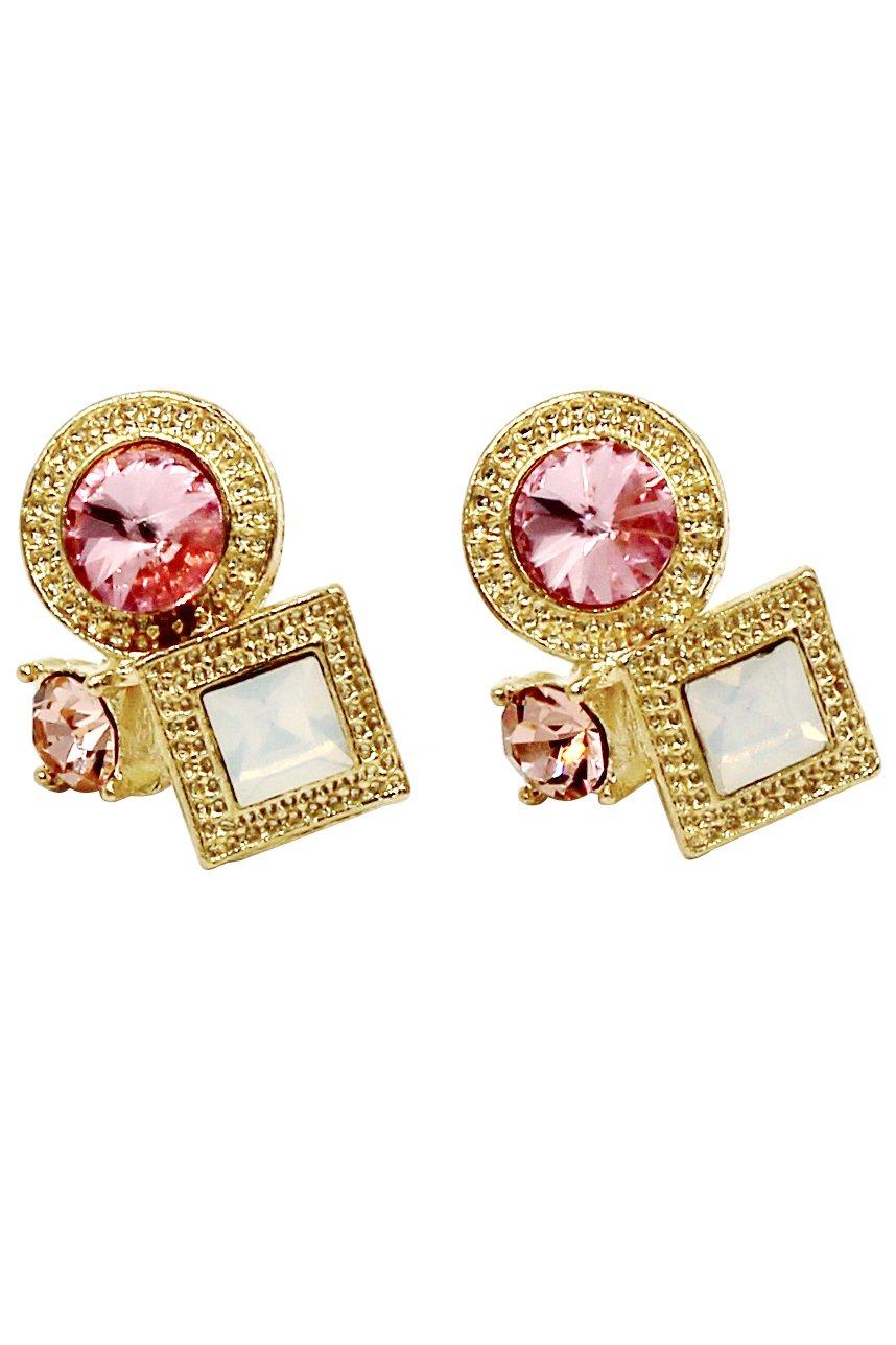 Fashion golden rim pink crystal earrings
