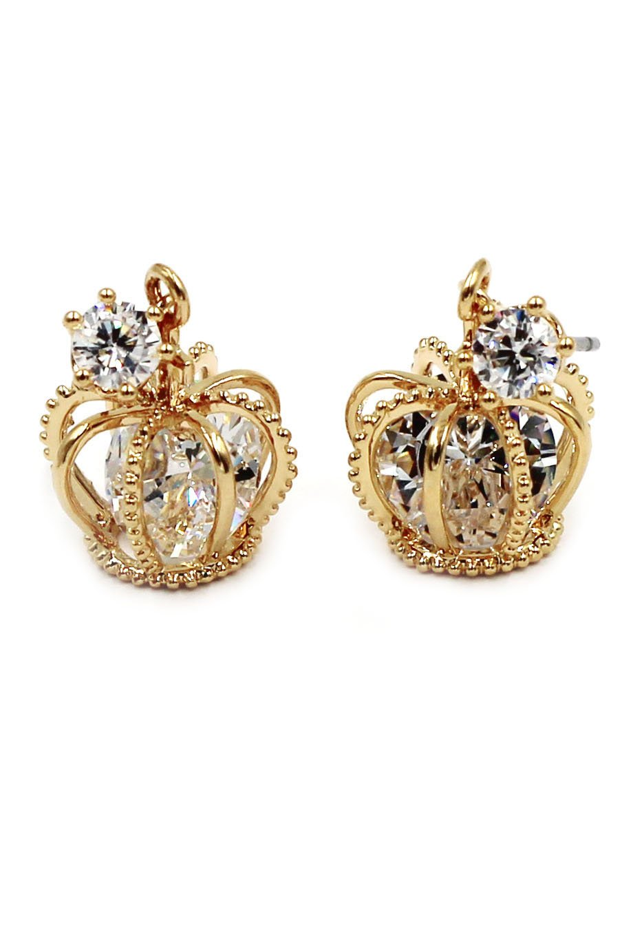 Fashion mini crown crystal gold earrings