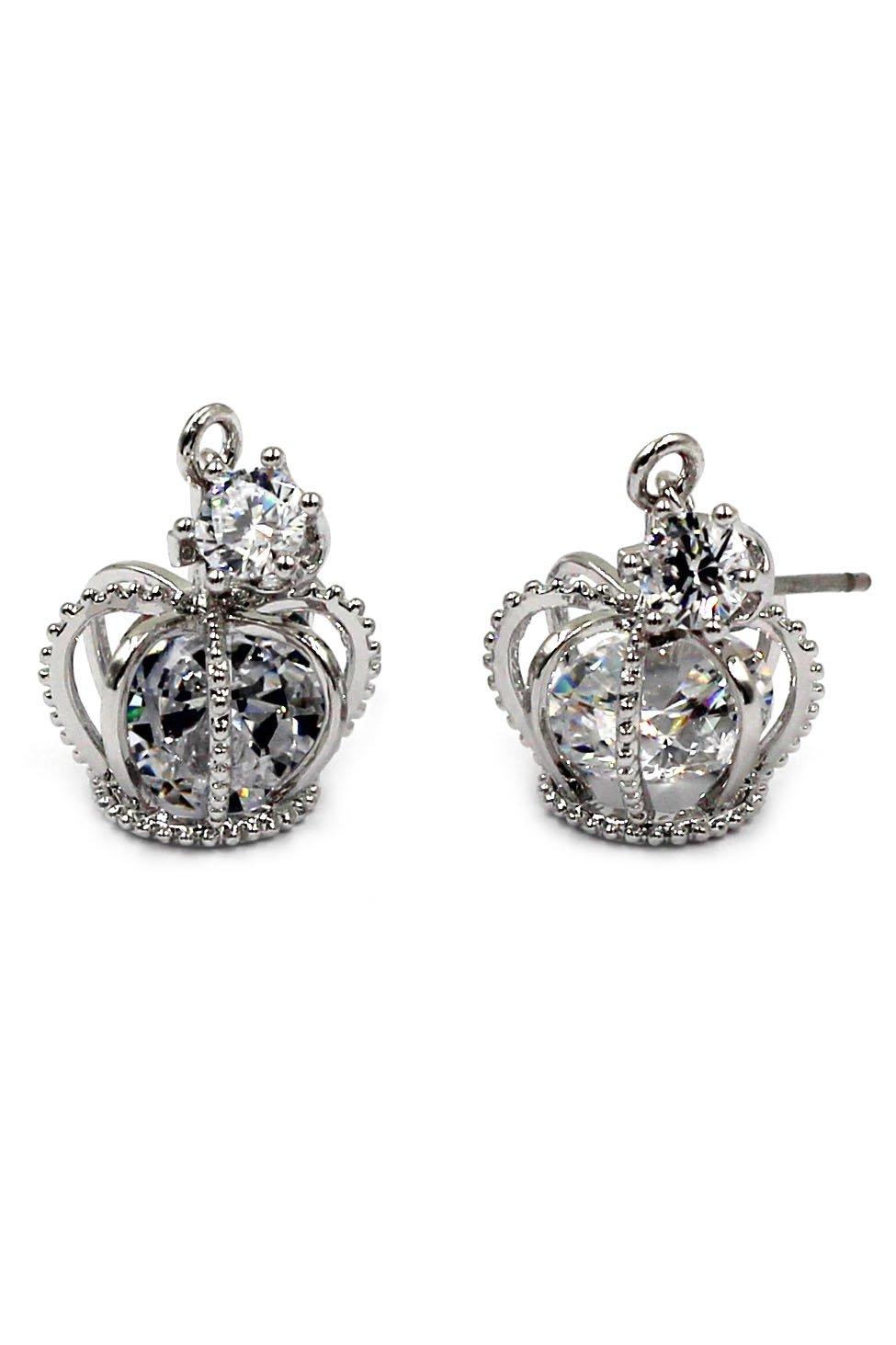 Fashion mini crown crystal silver earrings