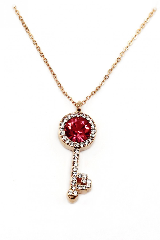 Fashion golden key red crystal necklac