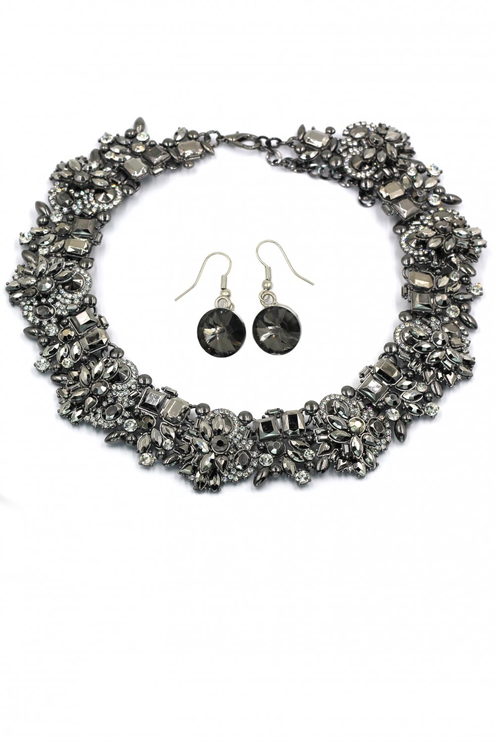 Fashion gray crystal necklace earrings set