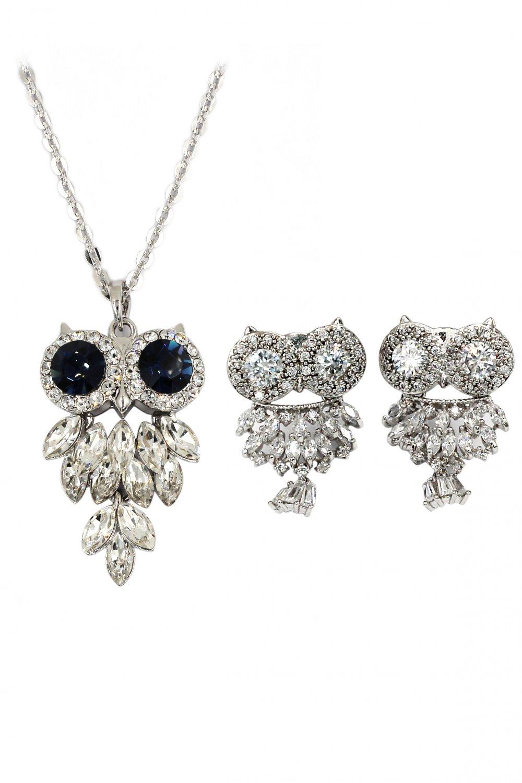 Lovely crystal blue eye owl necklace earrings set