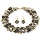 Elegant full black crystal necklace earrings gold set