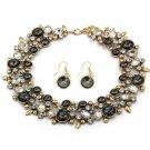 Elegant full black crystal necklace earrings gold set
