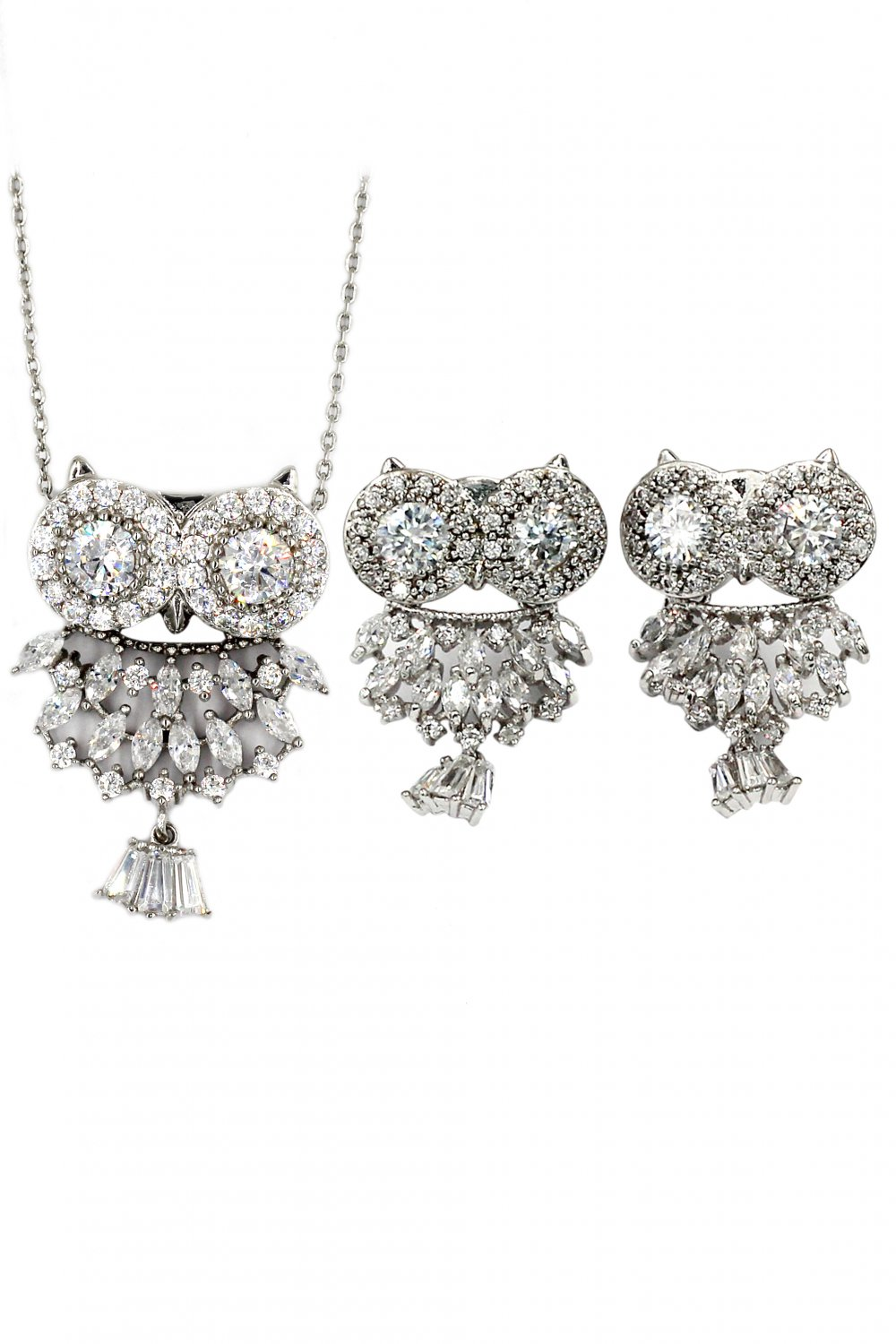Lovely crystal pendant owl necklace earrings silver set