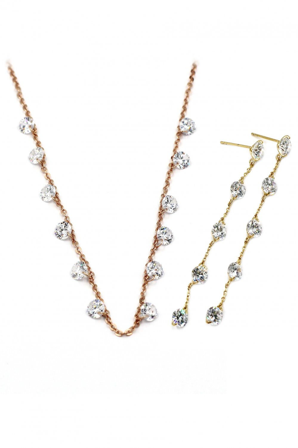 Small crystal fine chain necklace earrings gold set