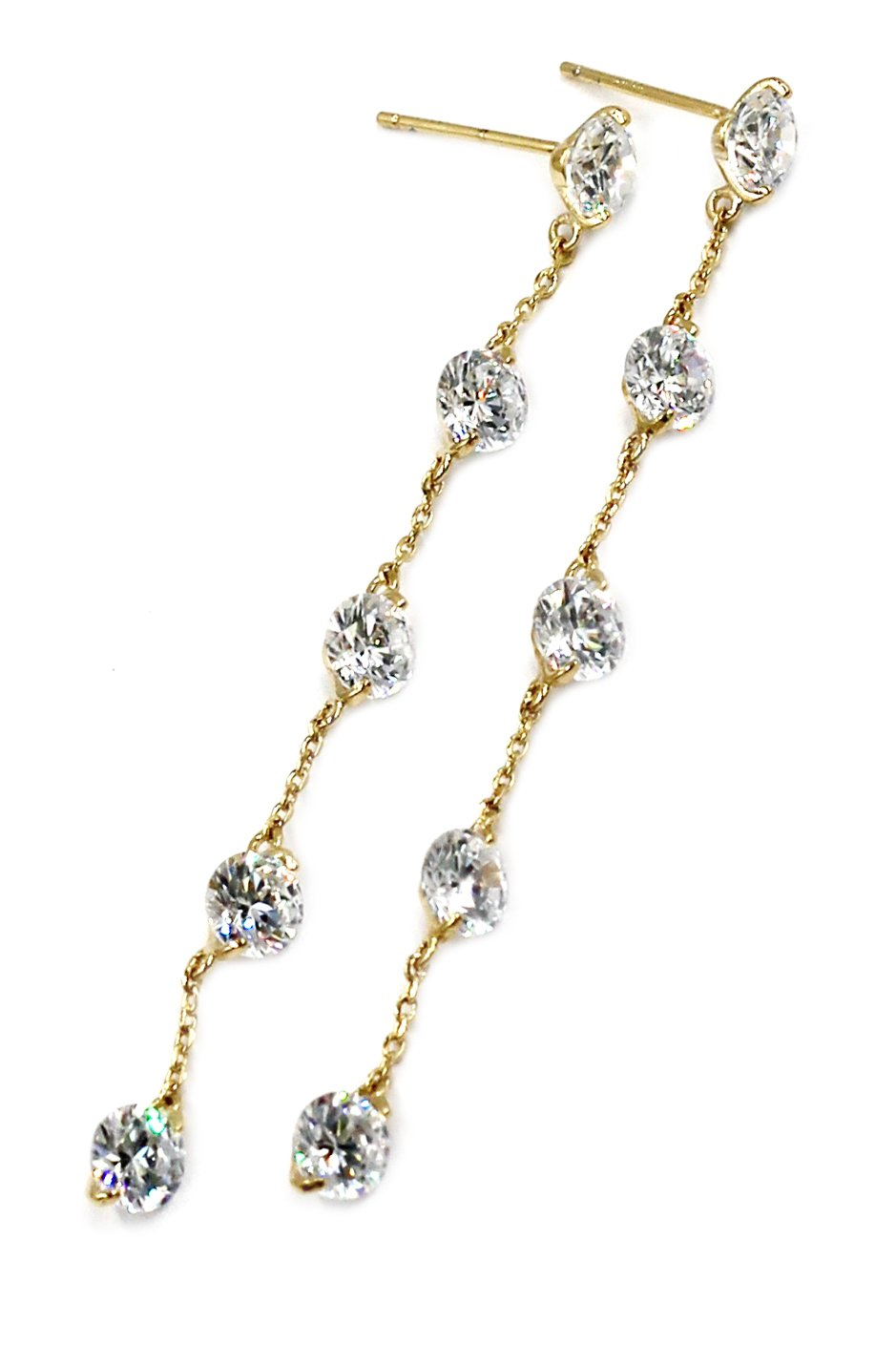 Small crystal fine chain gold earrings