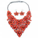 Crystal red flowers necklace sets