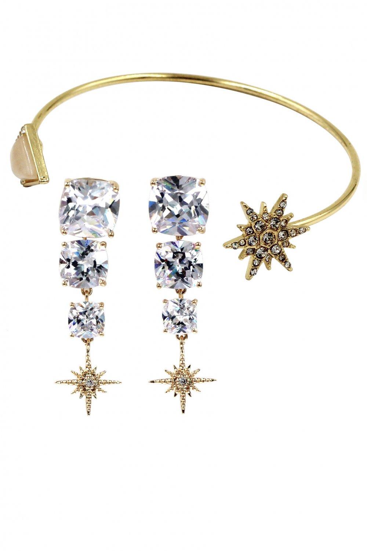 Fashion inlaid pink crystal star bracelet earrings set