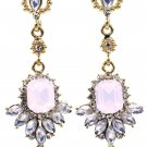 Elegant pendant pink crystal golden earrings