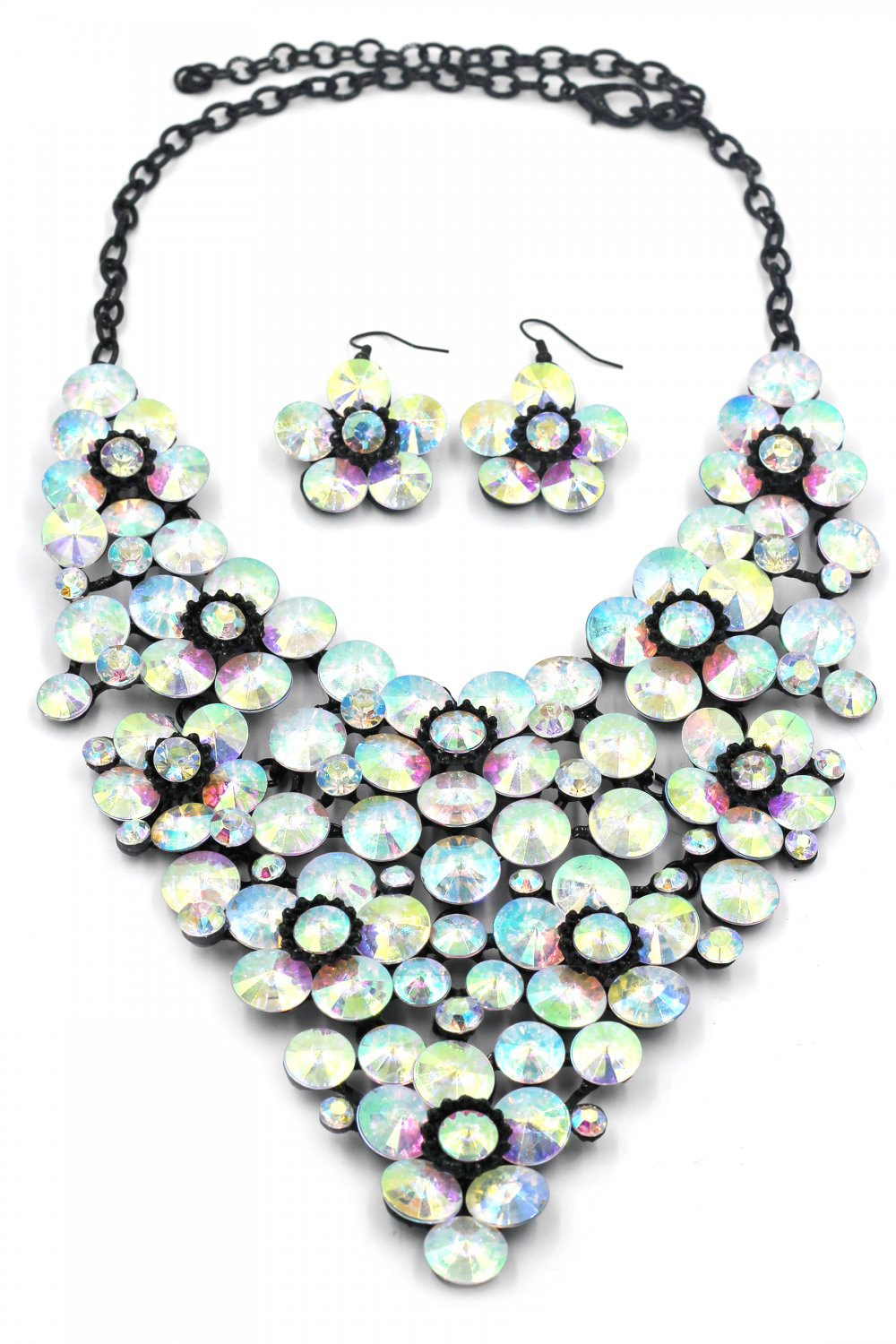 Multicolor crystal flowers necklace set