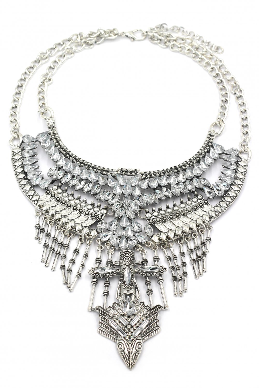 Fashion crystal tribe silver necklace
