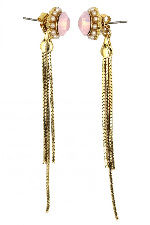 Fashion pink crystal golden tassel buckle earrings