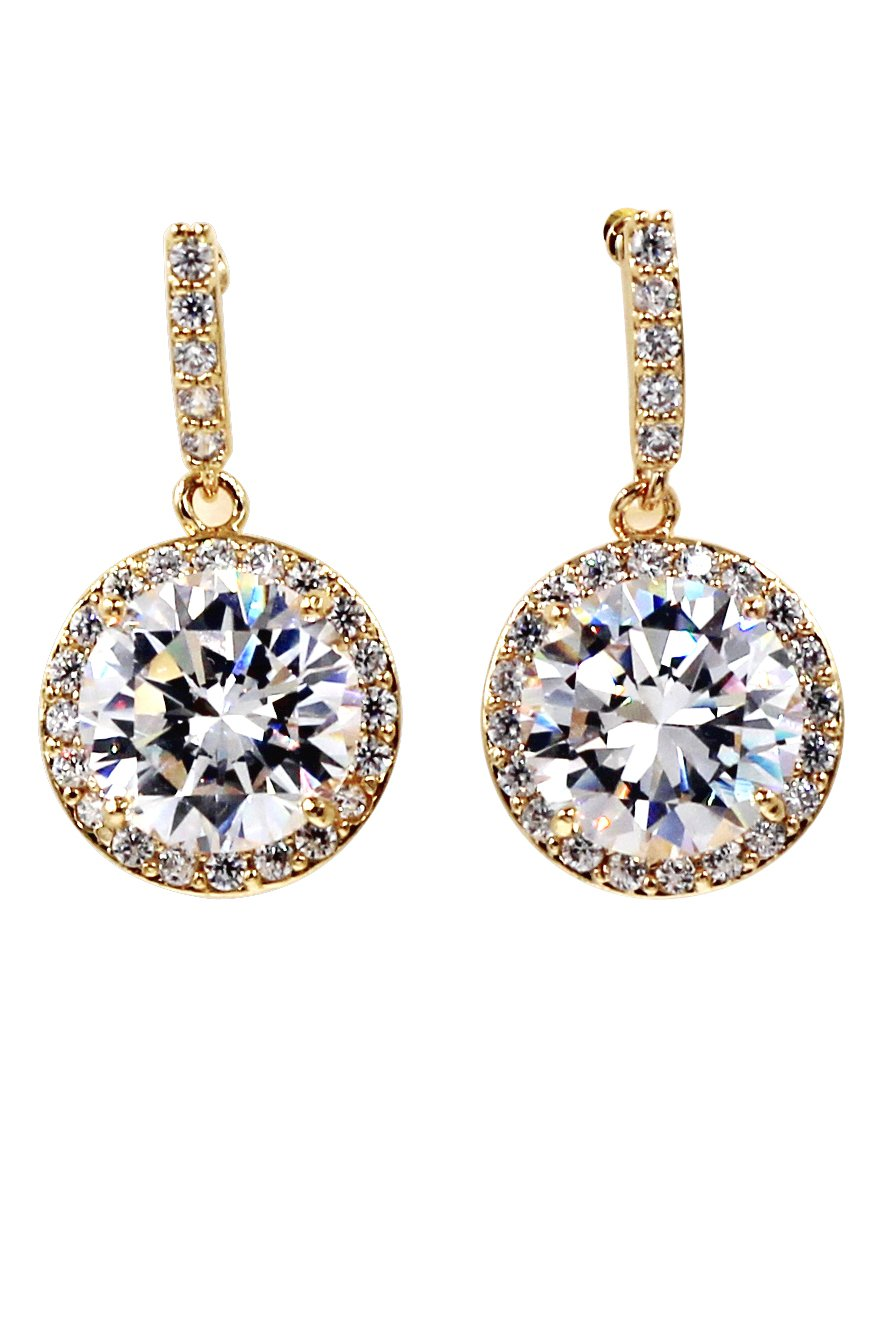 Simple large crystal gold earrings
