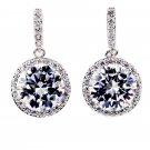 Simple large crystal silver earrings