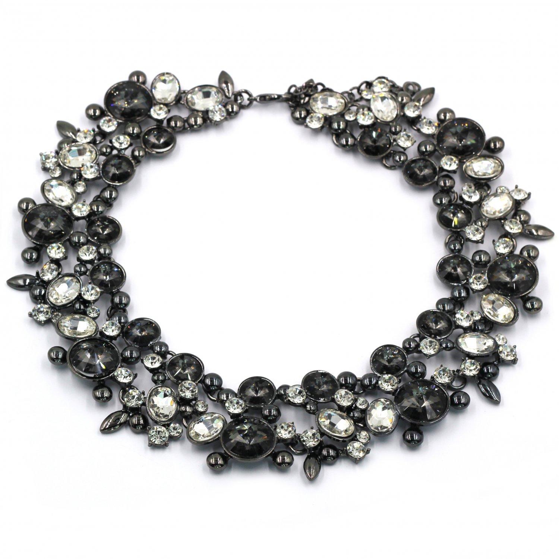 Elegant full Transparent Black crystal necklace
