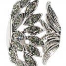 Elegant asymmetry peacoc crystal silver ring