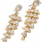Shining swarovski crystal pendant tassel gold earrings