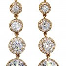 Shining crystal pendant gold earrings