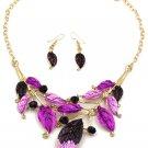 Fashion purple leaves necklace earrings set
