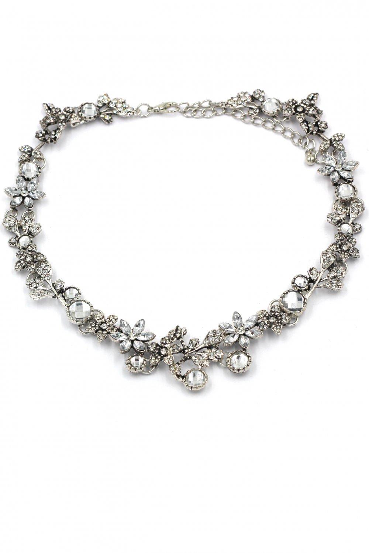 Pretty wreath crystal silver necklace