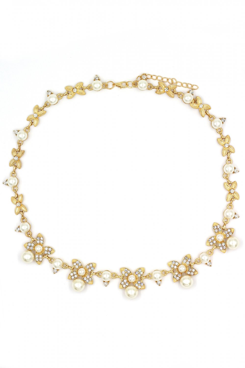 Elegant flower crystal and pearl gold necklace