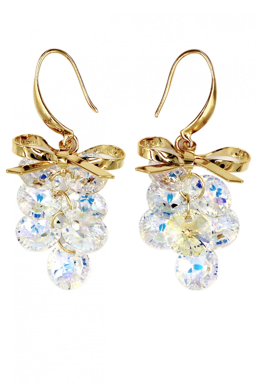 Fashion bowknot qualities crystal gold earrings