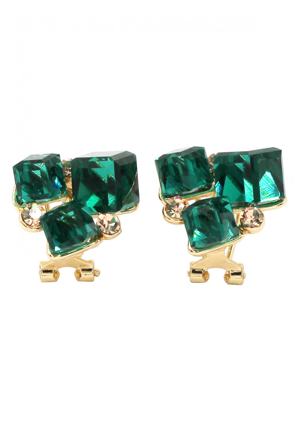 Square green crystal golden earrings