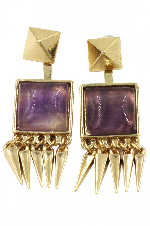 Square purple crystal golden earrings