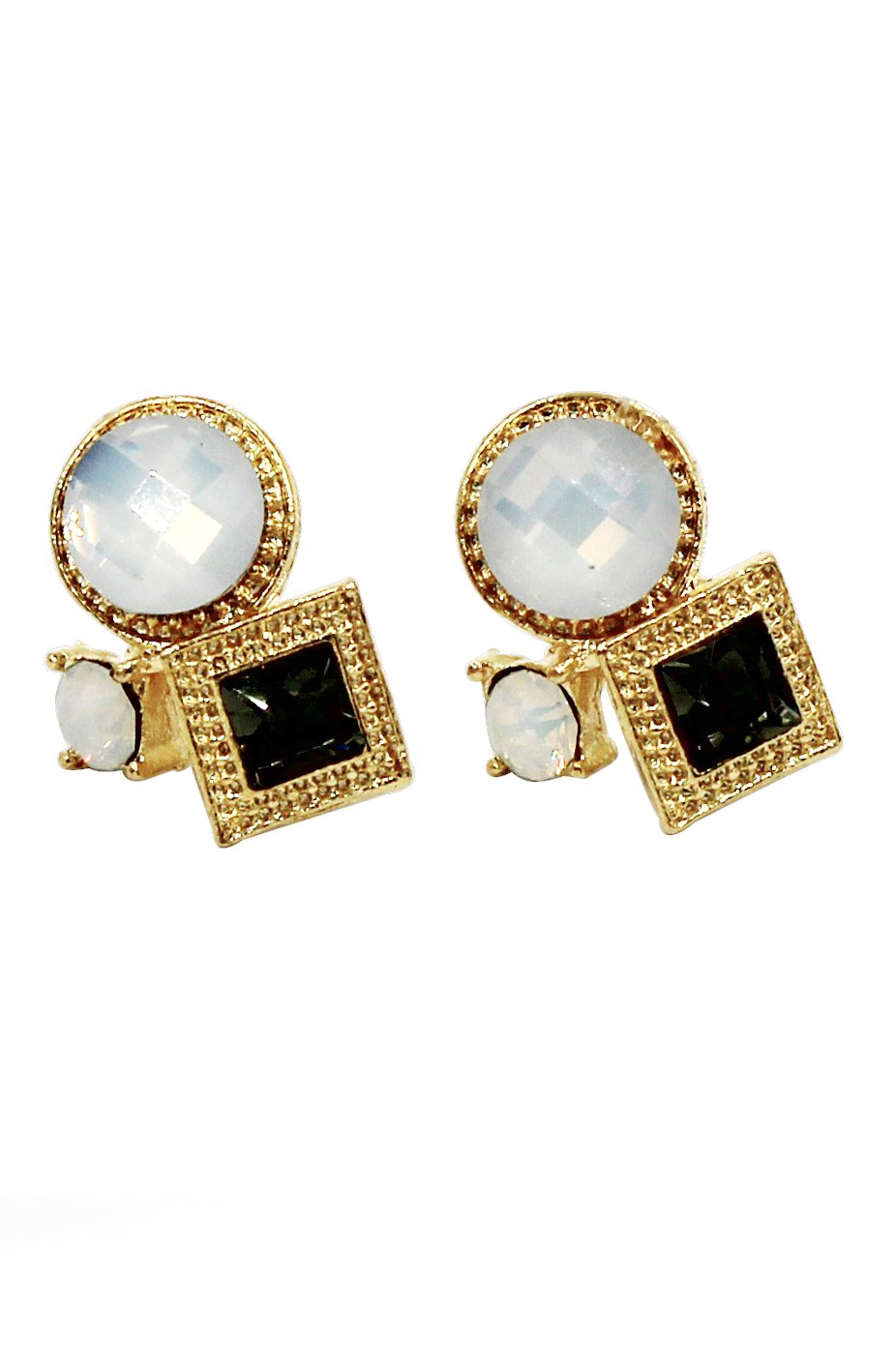 Fashion golden rim white and green crystal ball earrings