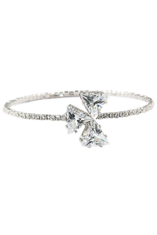 Shining triangle crystal silver bracelet