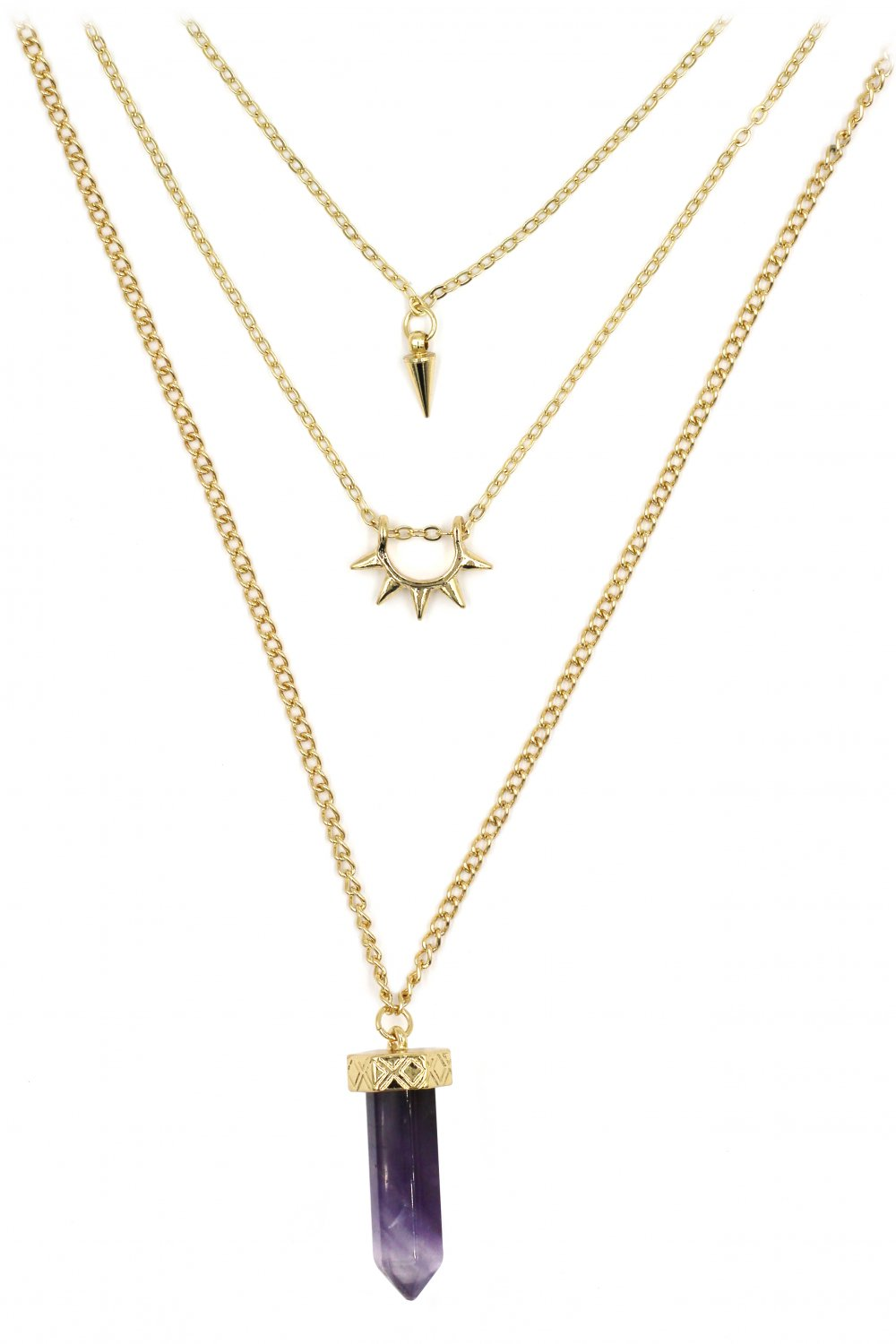 Fashion purple crystal three levels gold necklace